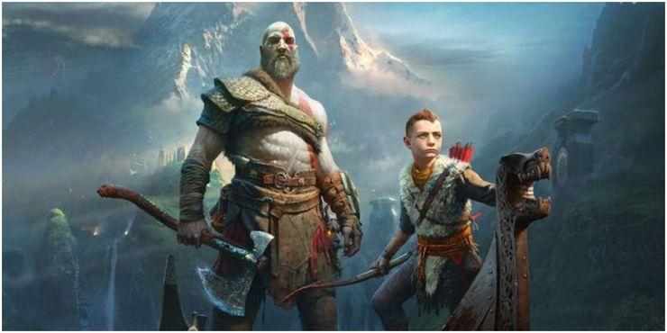Kratos i Atreus na łodzi.