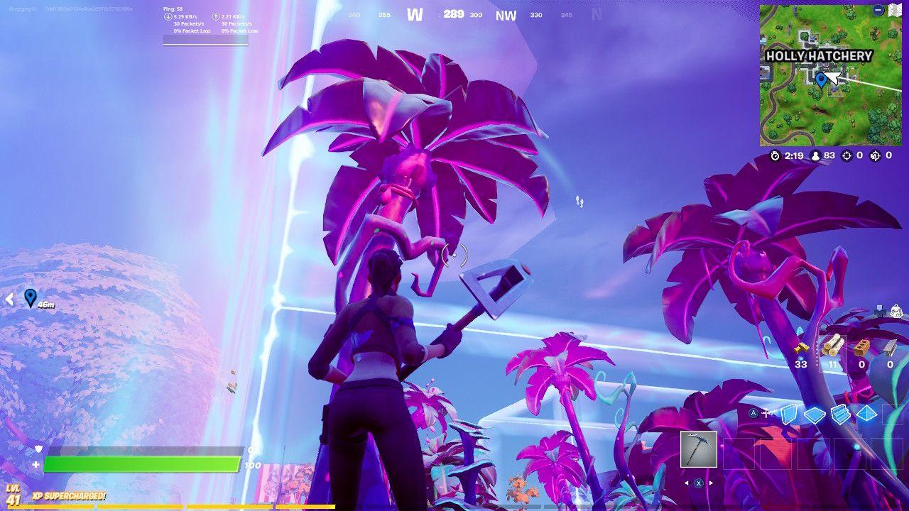 Fortnite: Como destruir árvores alienígenas 2