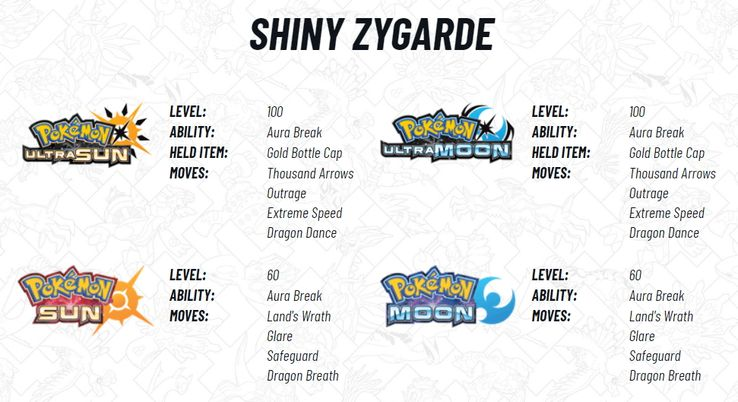 Pokemon Sun and Moon Shiny Zygarde Distribution is GameStop